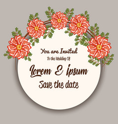 wedding invitation with flowers vector image