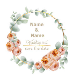 wedding wreath watercolor roses vintage decor vector image