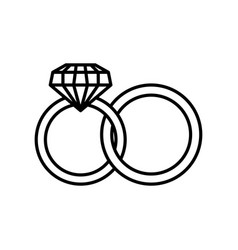 Weeding rings line style icon vector