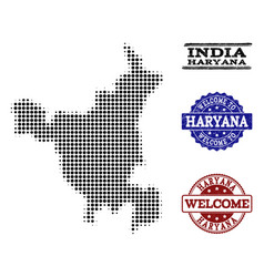 Welcome composition of halftone map of haryana vector
