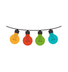 White background with colorful festoons bulb vector