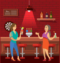 woman friends talking in bar drinking cocktails vector image