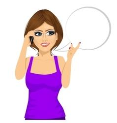 Woman having conversation using her smartphone vector