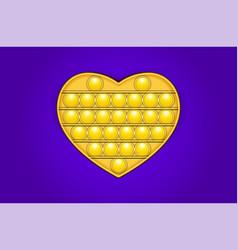 Yellow heart shaped trendy pop it fidget toy vector