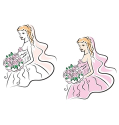 Young pretty bride on wedding ceremony vector image