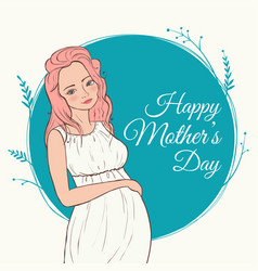 beautiful pregnant woman happy mothers day vector image