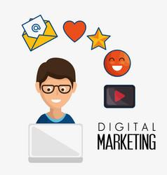 digital marketing flat icons vector image vector image
