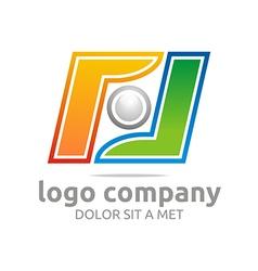 Letter f company foot ball circle symbol icon vector