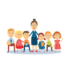 cartoon teacher standing with students pupils vector image