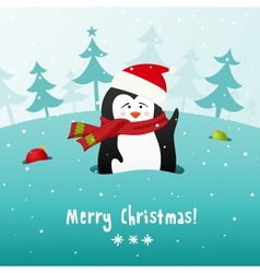 Cute Christmas penguin background vector image