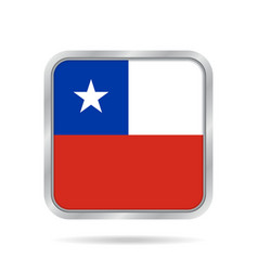 flag of chile shiny metallic gray square button vector image vector image