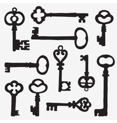 Keys silhouette composition vector image