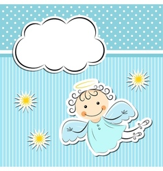 Little angel with stars and cloud vector image vector image