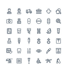 thin line icons set with medical medicine vector image vector image