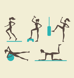 collection of female fitness silhouettes vector image