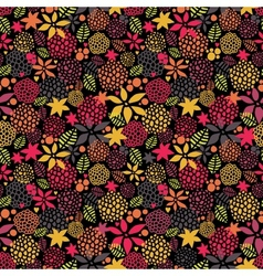 Cute night flowers seamless pattern vector image