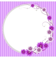 Delicate frame with mallow flowers and pearls vector image