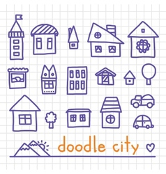 Doodle city vector image vector image