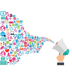 Megaphone and cloud technology with social vector image vector image
