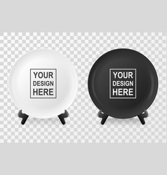 realistic white and black food dish plate vector image vector image