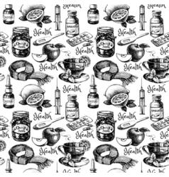 Sketch healthy and medical antivirus vintage vector