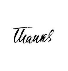 thanks handwritten inscription hand drawn vector image