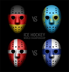 Vintage goalie masks with flags vector image vector image