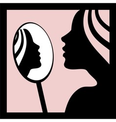 Woman looking in the mirror vector image vector image