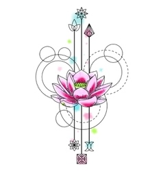 Abstract Watercolor lotus Tattoo vector image vector image