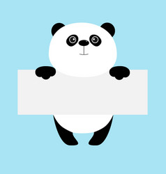 funny panda bear hanging on paper board template vector image vector image