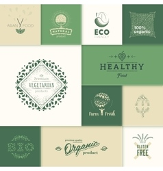 Healthy products logos vector image vector image