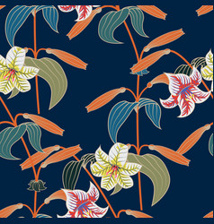 lily seamless pattern with trendy color spring vector image vector image