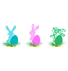 rabbit and colored egg symbol of easter set vector image vector image