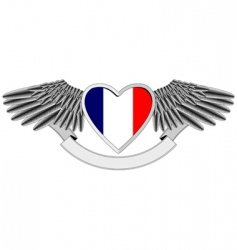 winged heart with french flag vector image vector image