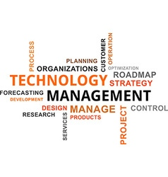 word cloud technology management vector image vector image