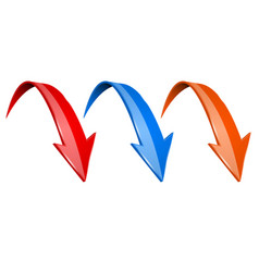 3d down colored arrows set - red blue and orange vector image