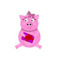 a pig with present new year icons in color vector image