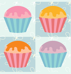 a set of flat colored isolated pastries with vector image