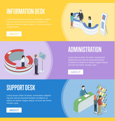 Administration and support desk isometric flyers vector