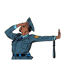 african police officer gesture denial shame vector image