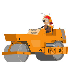 Ant road worker is running an asphalt compactor vector
