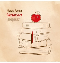 Apple on books vector image