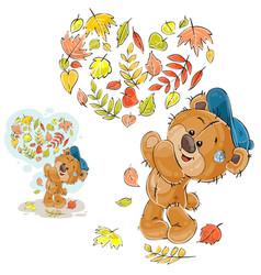 Autumn of a brown teddy bear vector