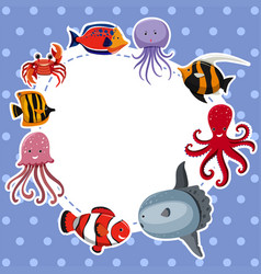Border template with sea animals on blue vector