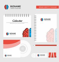 brain logo calendar template cd cover diary and vector image
