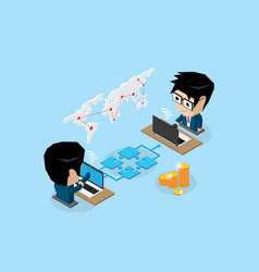 businessmen connecting online by jigsaw puzzle vector image