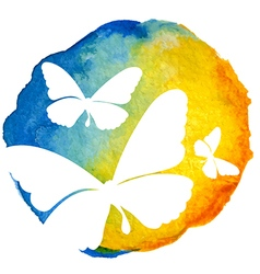 Butterflies in watercolor circle vector image