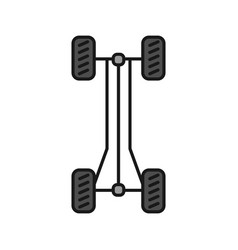 Car chassis frame color icon vector