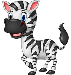 Cartoon funny zebra posing isolated vector