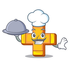 Chef with food retro plus sign addition symbol vector